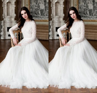 Modest Vestidos De Casamento Muçulmano 2015 New Arrivals Lace Mangas Compridas Vestidos De Casamento Do Vintage Branco A Linha Elegante Vestido De Noiva Custom Made Vestidos