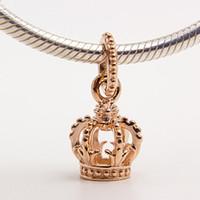 925 Ayar Gümüş Gül Altın kaplama Taç Dangle Charm Boncuk Avrupa Pandora Takı Bilezikler Kolye Kolyeler Uyar Kolye Kolyeler
