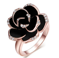 Fashion New Wedding Rings 3 Colors Rose Flower Ring For Wome...