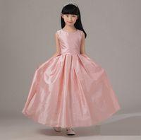 Kleine Prinzessin Talkate Juwel Hals Lange Blume Mädchen Kleider Schärpe Knöchellänge A-Line Reißverschluss Hochzeitsfeier Kleines Baby Kleid