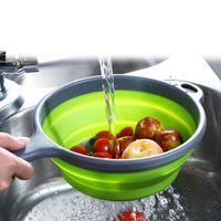 С длинной ручкой корзины фруктов круглый складной легко принять корзину выдолбленный дизайн овощной Скеп зеленый 6 8xc B