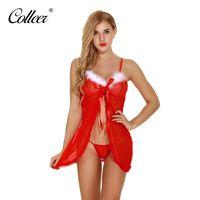 38f99281b Wholesale christmas sexy babydoll online - Women Sexy Lingerie Dress  Christmas Babydoll Dress Lace Trim Sleep