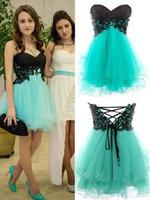 청록색 얇은 얇은 얇은 얇은 얇은 얇은 짧은 동창회 드레스 2015 A 라인 저렴한 학교 파티 드레스 짧은 댄스 파티 드레스 칵테일 드레스
