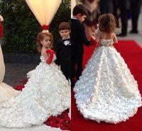Beyaz Fildişi Pageant kızın Elbiseleri Spagetti Sapanlar Bir Çizgi El Yapımı Çiçek Kat Uzunluk Mahkemesi Tren Çiçek kızın Elbiseler Yeni Varış