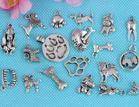 Vintage Zilver Gemengd Patroon Puppy Dog Paw Prints Dangles Kralen Charms Hanger Voor Vrouwen Jurk Armband Mode-sieraden Bevindingen 100 Stks A18