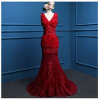 Lace Tulle Mermaid Evening Dress With Appliques 2016 V Neck ...