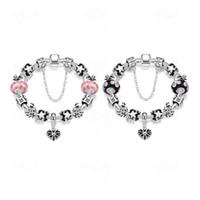 Bracelets en argent sterling de la mode 925 marguerites Cristal de verre de Murano perles européennes charme Bracelets pour bracelets pandora Bouton de la boîte