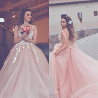 2018 Blush Rose Robes De Soirée Sheer Neck Sexy Backless Dentelle Applique Tribunal Train Tiered Tulle Formelle Celebrity Party Robes De Bal Robe
