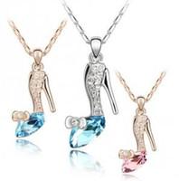 Yüksek Kalite Trendy Altın / Gümüş Kaplama Kristal Külkedisi Cam Terlik Kolye Kolye Takı Kadınlar Için Toptan XL005
