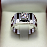 925 Sterling Silver Ring 18K Gold Plated Male Silver Diamond...