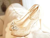Marfil hermosa moda encaje cristal 10cm tacones altos zapatos de novia de la boda