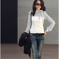 2014 New Women' s T- shirt Polo Neck Stripes Long Puff Sl...