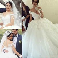 2018 скромные свадебные платья с рукавами Sexy V-образным вырезом шарикового платья свадебные платья Princess Bohemian Свадебное платье Урожай Vestidos de Novia