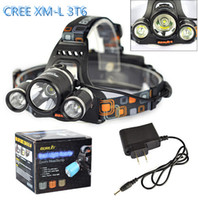 Drop shipping Boruit RJ- 3001 3x XM- L T6 LED Headlight 5000 L...