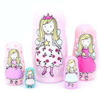 5pcs Nesting Dolls Handmade Wooden Cute Cartoon Pink Angel G...
