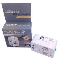 한 다기능 전세계 국제 플러그 이중 두 개의 포트 USB 보편적 인 여행 충전기 모든 휴대용 벽 어댑터