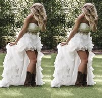 Summer Garden Beach High Low Wedding dresses With Crystal Be...
