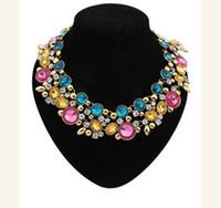 wish_team Luxus-Tropfen-ovale Strass Bling funkt Goldton Kette Lätzchen Halskette 3 Farben W296
