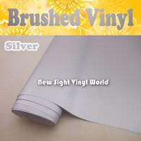 Hoge kwaliteit zilveren geborsteld metalen vinylfilm geborsteld zilver vinyl wrap lucht bubble gratis grootte: 1,52 * 30m / roll