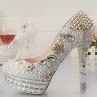 Vackra Vogue Kristaller och Pearl High Heels Wedding Bridal Shoes Woman Party Prom Dress Shoes