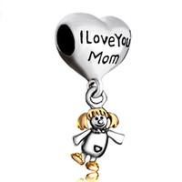 Ti amo mamma figlia cucciolata famiglia figlia goccia stile europeo ciondolo perlina infantile portafortuna adatto al braccialetto di fascino Pandora