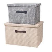 Fabric Clothing Folding Woven Weave Style Storage Box With Lid, Folding  Basket Organizer Bins Home Finishing Box Large Capacity 3 Size