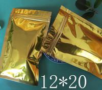 100pcs / lot 12 * 20cm a buon mercato all'ingrosso dorato chiusura a cerniera metallico / alluminio cerniera chiusura a zip borse oro borse imballaggio sacchetto spedizione gratuita