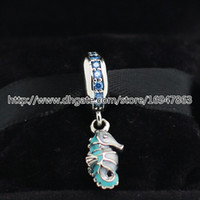 100% S925 Sterling Silver Tropical Seahorse Dangle Charm Bead with Enamel Fits European Pandora Style Jewelry Bracelets Necklaces & Pendant