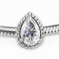 Pandulaso Radiant Teardrop Charm Clear CZ Perlas para la Fabricación de joyas Fit Pandora Pulseras Neckalce Mujer DIY que hace la joyería