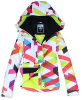 Женские тепловые яркие кривые лыжная куртка Геометрический узор красочные бар сноубординг снег пальто женские водонепроницаемые ветрозащитные дышащие горные
