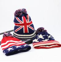 Moda EE. UU. Bandera estadounidense Beanie Hat Lana Invierno Cálido Gorros y sombreros de punto para hombre y mujer Skullies Gorros frescos
