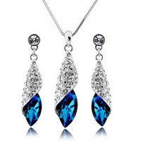 Top Grade Silver Jewelry Sets New Fashion Hot Sale Crystal E...