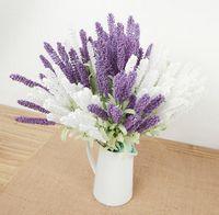 Lavanda de seda Manojo de lavandas Bush Ramo de simulación de la flor artificial Lila Púrpura Blanco de la boda / Casa flor artificial SF016
