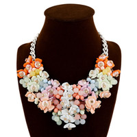 Top quality statement jewelry fashion color flower necklace ...
