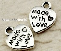 500pcs Heart Shpae made with love Vintage Charms Pandents si...