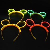 GLOW BUNNY EARS FASCIA BANDA FASCIA BASTONI PARTY HEN NIGHT WEDDING Rave Party Accessori per capelli Articoli per feste