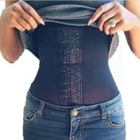 Wholesale-acier os de taille os formation corset 100% latex corset sexy féminin noire femme taille cincher minceur Shapewear Body Corsely B36