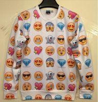 HOT!New Women Men love afraid happy sad emoji print Pullover...