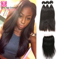 Rosa Hair Products Brazilian Virgin Hair With Closure Jet Bl...