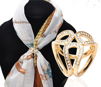 Jewelry Accessories Gold Silver Zircon Flowers Scarf Buckle ...