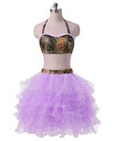 2017 Sexy Halter Dois pedaços Backless Bola vestido vestido de baile com mini organza plus size noite formal vestido de festa bp09