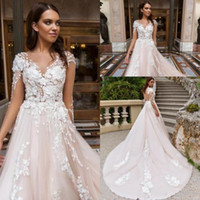 2020 New Romantic Blush Backless Wedding Dresses Sheer Illusion Look Vestidos 3D Flora Appliqued Long Train Bridal Gowns 352