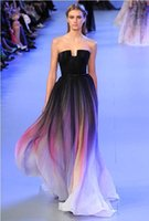 Cheap Actual Image Sexy Vestidos Elie Saab Evening Dress New Gradient Ombre Chiffon Strapless Pleats Women Prom Dress Lily Collins CPS173