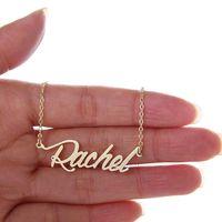 """عرف المرأة 18 كيلو مطلية بالذهب اسم شخصية قلادة """"راشيل"""" الفولاذ المقاوم للصدأ شخصية قلادة رسائل اللوحة قلادة، NL-2406"""