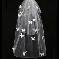 Veli da sposa nuovi con fard 3 strati Velo da sposa corto con applicazioni di farfalla Accessori nuziali Tulle avorio