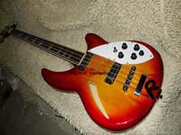 Оптовая высокое качество Рик полу полые Рик вишнево-красный 4 строки электрическая бас-гитара бесплатная доставка