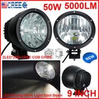 "2st 9 ""50W CREE LED Driving Work Light 2Cob * 25W Chip Offroad SUV ATV 4WD 4x4 Spot Pencil Beall 12 / 24V 5000LM Xenon White 6k Byt hidlampa"