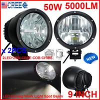 "NEW 2PCS 9"" 50W CREE LED Driving Work Light 2COB*25W CHIP Offroad SUV ATV 4WD 4x4 Spot Pencil Beam 12/24V 5000lm Xenon White 6K Replace HID"