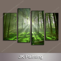 4 Piece Canvas Art Wall Decor Forest Painting Wall Art Canva...