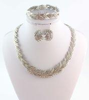 أزياء حلي المرأة حجر الراين الزفاف حزب الفضة سوار أقراط قلادة مجموعات مجوهرات مطلي